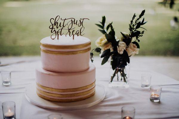 Shit just got real cake topper  #wedding #weddings #engaged #aislesociety #weddinginspiration #ealwedding