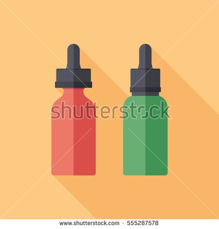 Vaping glass e-liquid bottles flat square icon with long shadows. #vape #vaping #flaticons #vectoricons #flatdesign