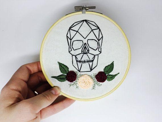 Geometric Skull & Flowers Embroidery Hoop by DIYnosaurShop on Etsy