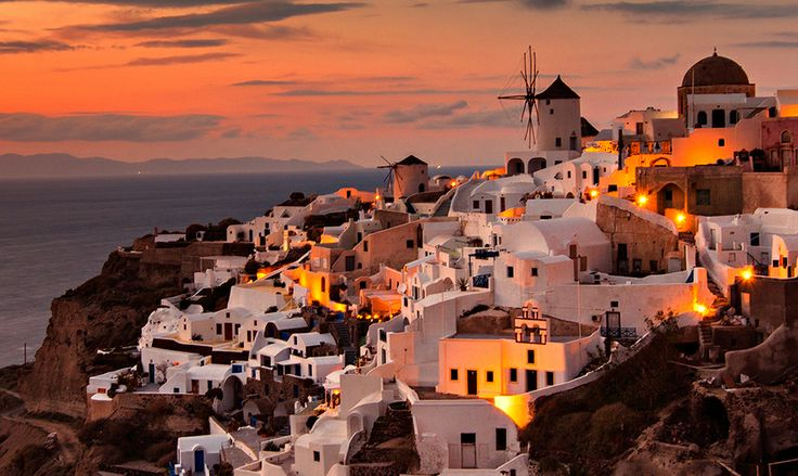 Golden Sunset by Jose Hamra, via 500px -Santorini, Greece