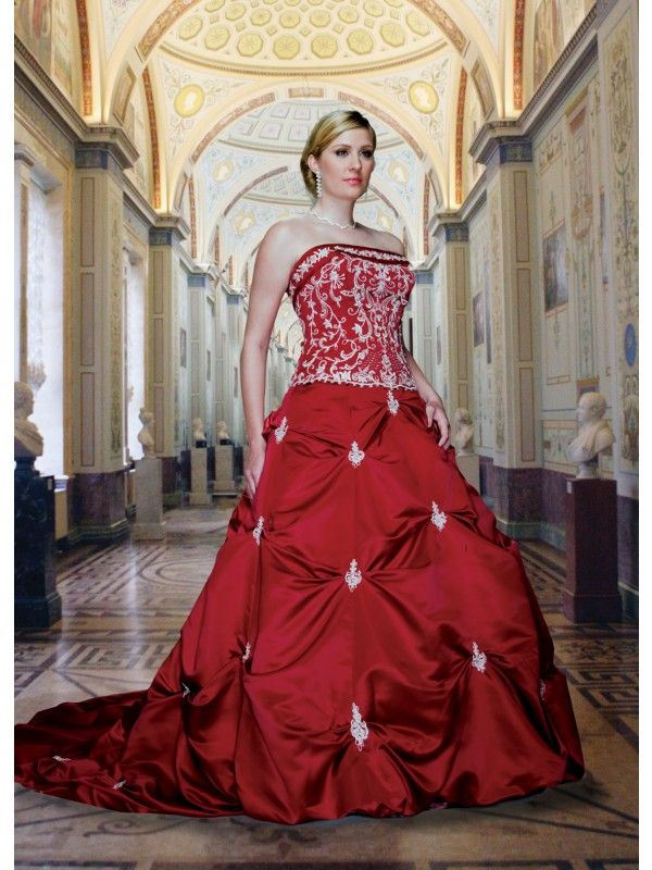 Red Wedding Dress Embroidered O 2011