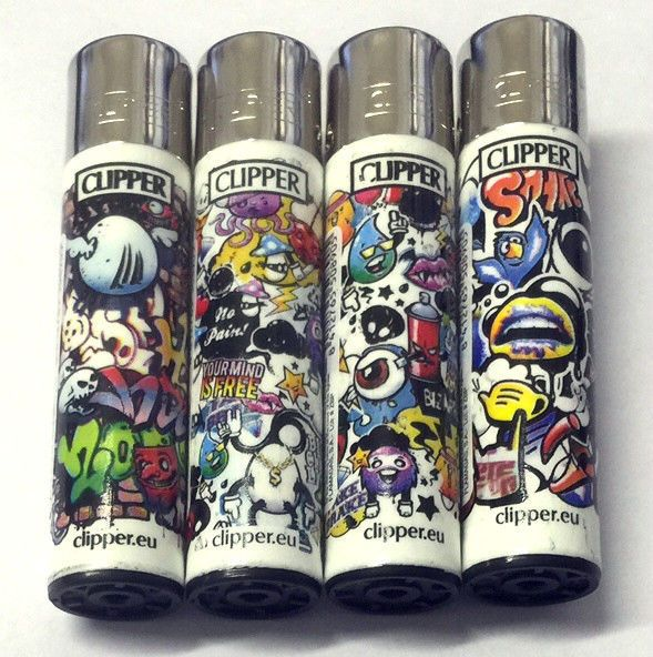 4 x GENUINE CLIPPER LIGHTERS URBAN COOL GRAFFITI GAS FLINT REFILLABLE LIGHTER
