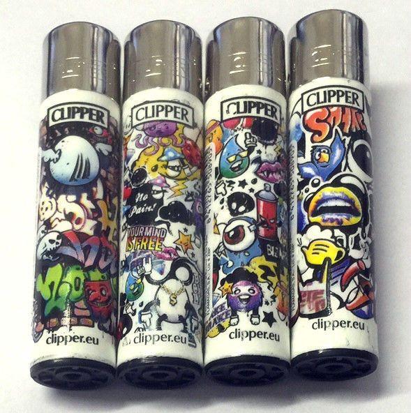 4 x GENUINE CLIPPER LIGHTERS  URBAN COOL GRAFFITI  GAS FLINT REFILLABLE LIGHTER