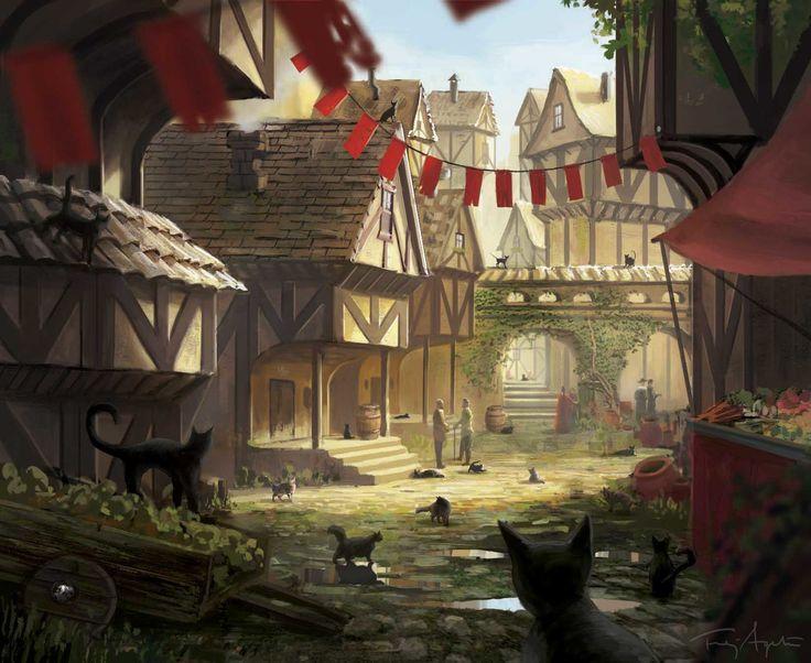 fantasy medieval eldritch horror concept town dreamlands frej artstation night expansion village landscape rpg games artwork towns street digital market