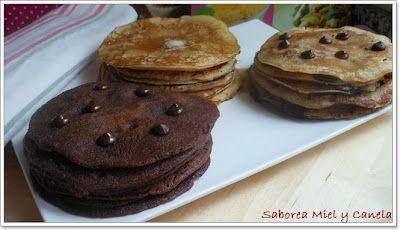Pancakes de Mantequilla y Miel, pepitas de Chocolate y doble Chocolate