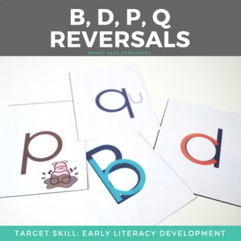 Are your students struggling with letter reversals in reading or writing? Use this visual and the verbal cues to help them stay on track: A lowercase b fits inside of an uppercase B A c turns into a d The pigs dig down to the mud Q needs to be able to reach out and hug his friend u. The kids love these card cues, and it is great practice for them.