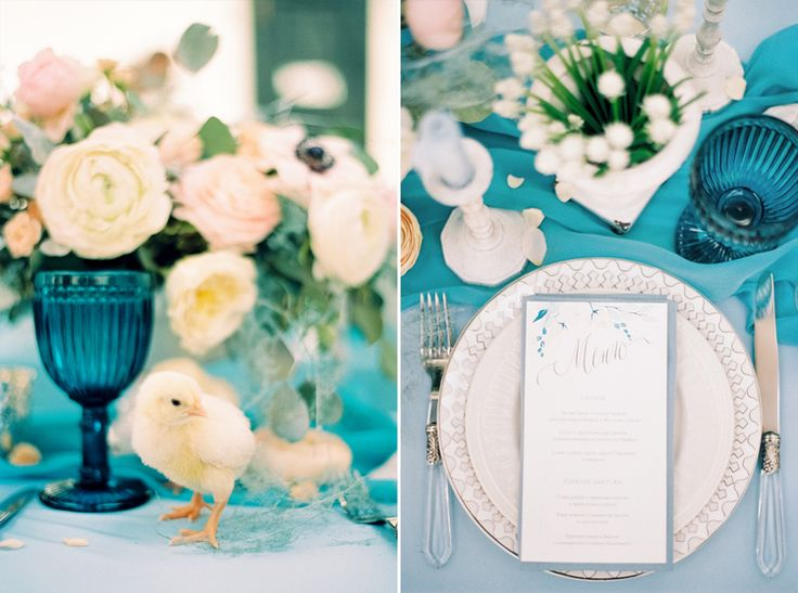 Blue wedding table decor | Blue Watercolor wedding inspiration | Photography : yaroslavandjennyphotography.com/ | Read more #weddinginspiration on fabmood.com:
