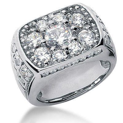 18K Gold Men's Diamond Ring 3.42ct