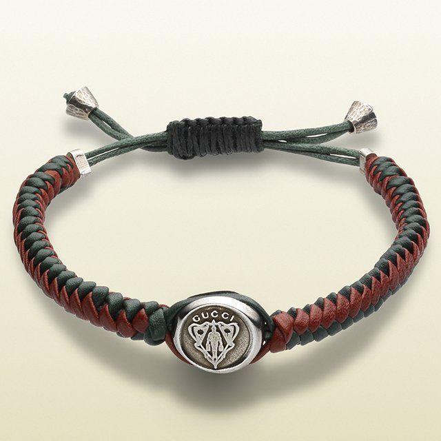 Gucci Crest Woven Leather Bracelet