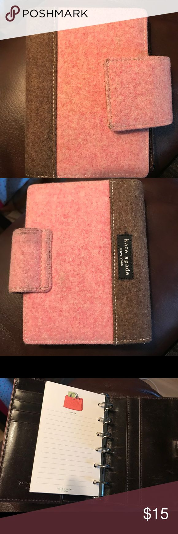 Kate spade planner-passport size. This is a repost. Adorable planner, a tad too small for me. Leather and wool is worn and scratched, but no tearing or rips. Great to throw in your purse. Price reflects condition. kate spade Other