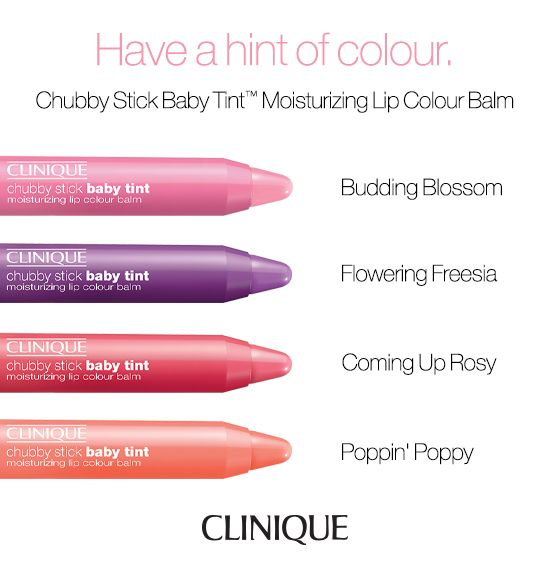 Enjoy a hint of color for lips with Chubby Stick Baby Tint Moisturizing Lip Colour Balm in four pretty shades.