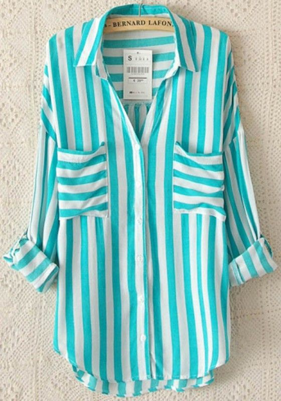Green Striped Long Sleeve Blouse