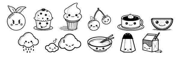 Kawaii coloring pages of foods | Food coloring pages ...