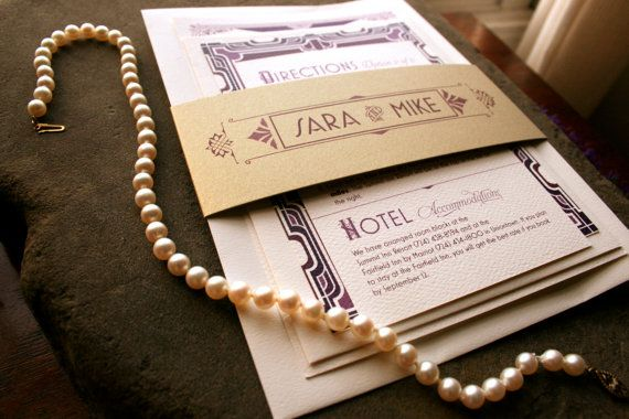 Art Deco Wedding Invitations, Great Gatsby Love Suite, Vintage Layers Wedding Suite, Custom, Made-to-Order