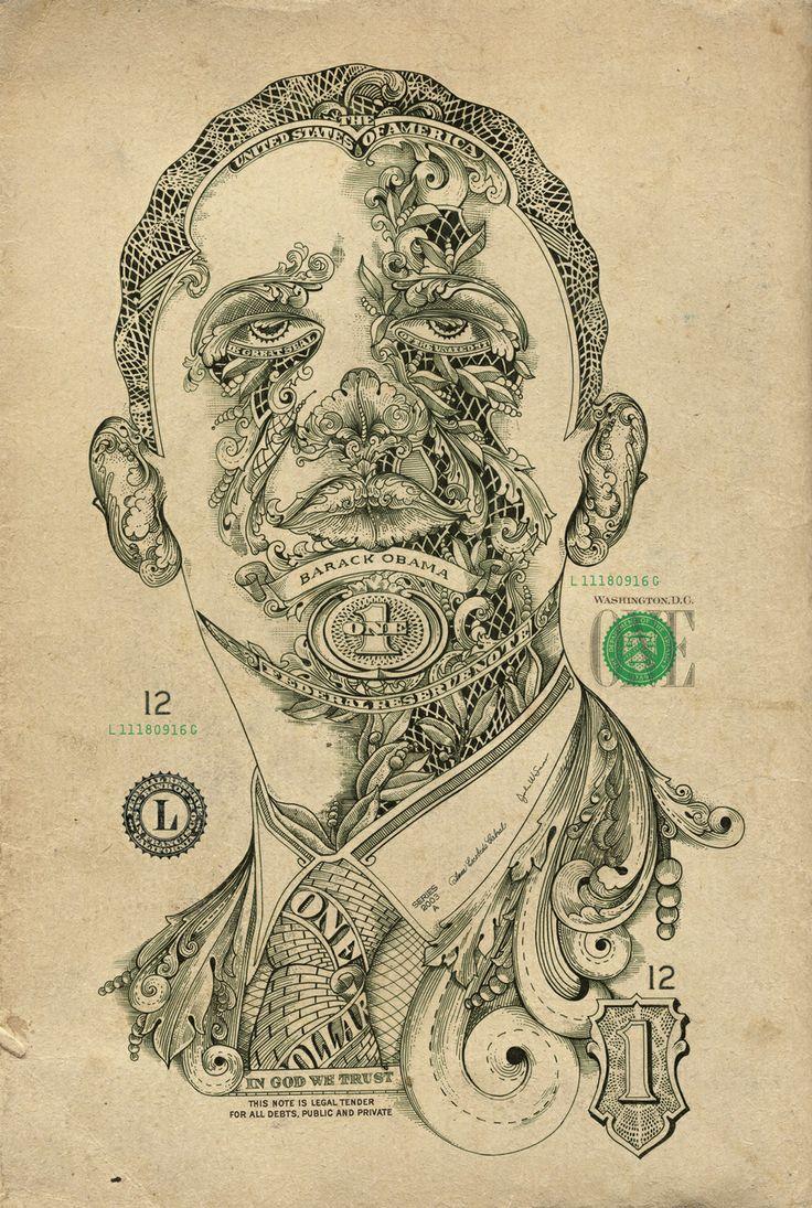 One Dollar Man. Barack Obama portrait.