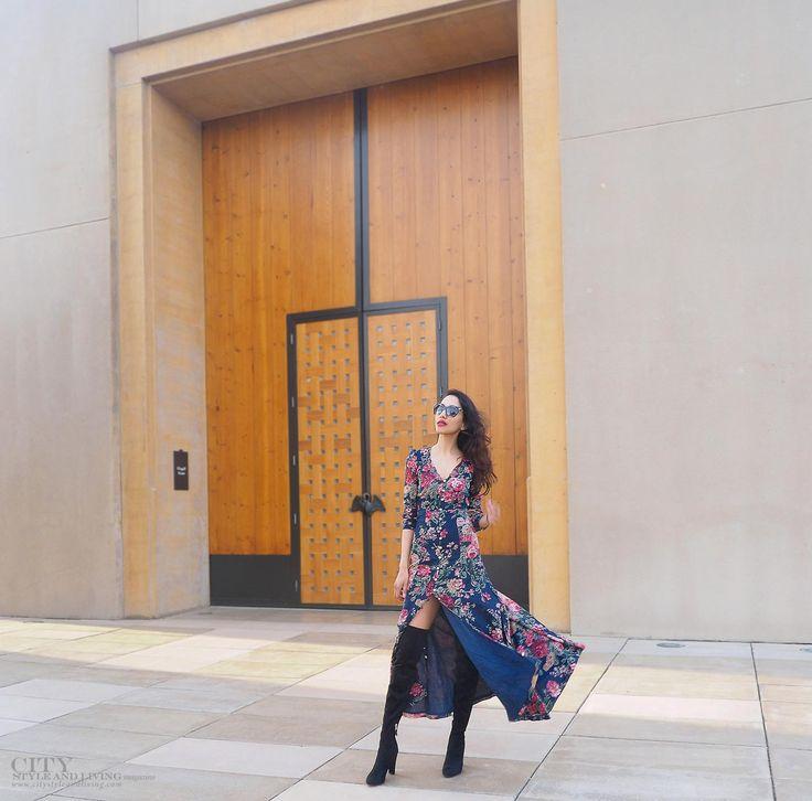 What to wear at Mission Hill Winery.  Ralph Lauren Denim and Supply maxi dress and Sam Edelman thigh high boots.  #styleblogger #ootd #styleinspiration #romantic #missionhillwinery #okanagan #winery #sunset @samedelman @ralphlauren