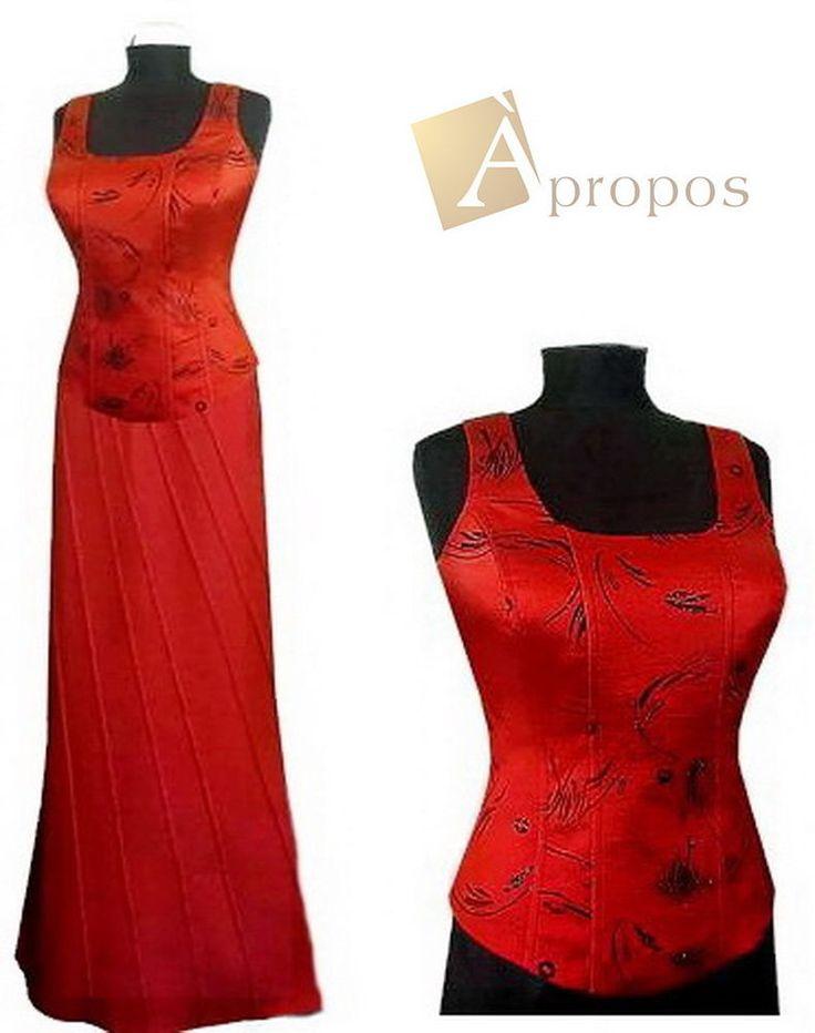 Abendkleid 2- Teiler Korsage Rock Elegant Luxeriös Bodenlang Rot Apropos