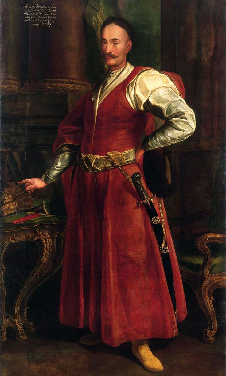 Polish noble Stanisław Antoni Szczuka (1652-1710) in a representative national Polish outfit. A red kontusz tied with a pas kontuszowy. Underneath a żupan with a low collar. Left hand holds a fur cap with a low band. Characteristic hair and moustache. Unknown artist.
