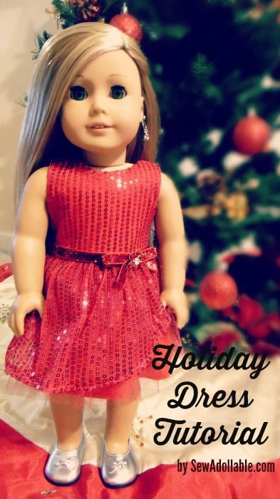 How to Sew the Sequined Holiday Dress for American Girl Dolls | Sew Adollable