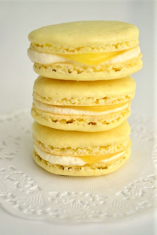 Lemon macarons with lemon mascarpone and lemon curd filling.