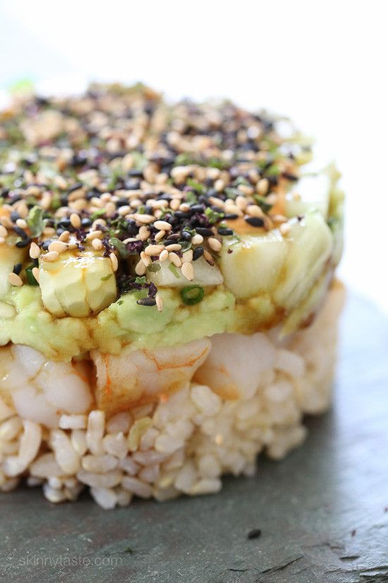 Spicy California Shrimp Stack | Great dish to fix a sushi craving and nice and cool and refreshing for a hot day