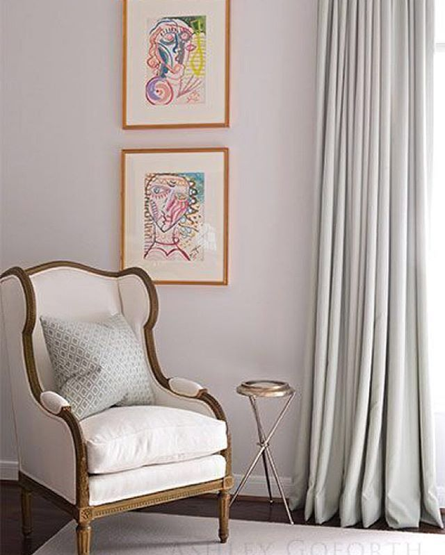Sitting Pretty! Love this antique wing chair and modern art in the corner of this room! Happy Wednesday! #AshleyGoforthDesign #design #bedrooms #Decor
