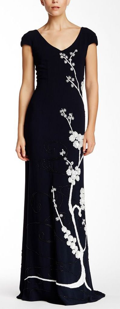 Embroidered Floral Evening Gown ==
