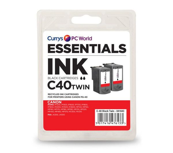 ESSENTIALS C40 Black Canon Ink Cartridges - Twin Pack, Black