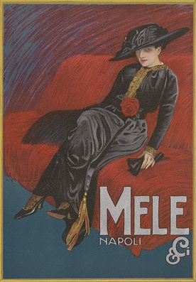 """By Marcello Dudovich (Italian), Mele Napoli (Department store of Naples). From """"Ricordi Portfolio"""" a serie of greatest Italian posters printed between 1895  1914."""