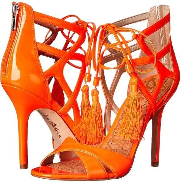 Sam Edelman Azela (Neon Orange Patent) High Heels ($78) ❤ liked on Polyvore featuring shoes, sandals, orange, sam edelman sandals, laced sandals, sam edelman shoes, high heel sandals and patent leather sandals