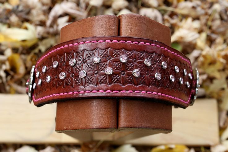 Leather Wither Strap with Stamped Geometric Pattern & Pink Synthetic Jewels by KellysLeatherDesign on Etsy
