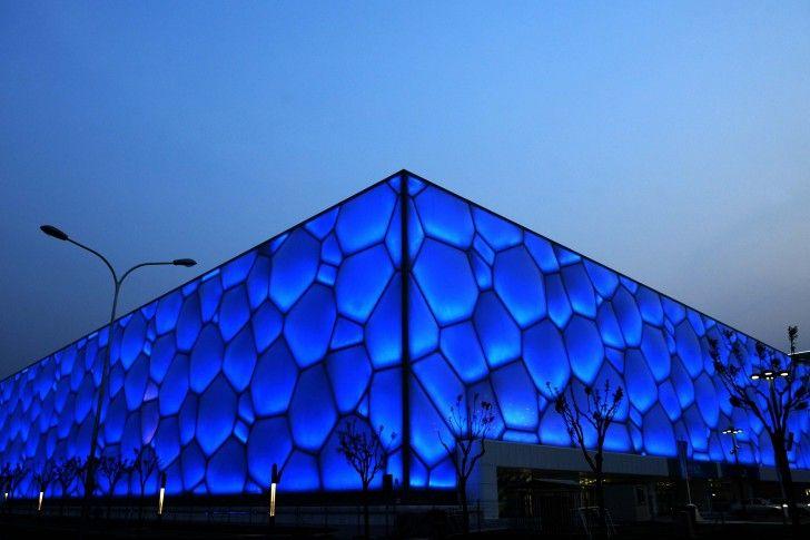 Beijing Water Cube Nella Notte Cina