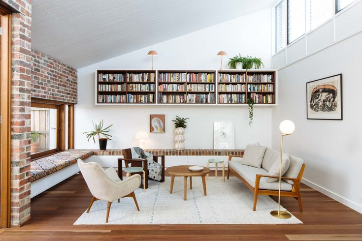 Bookcase | Lawry Street Residence, Ha Architecture & Jen Lowe Design red brick seat
