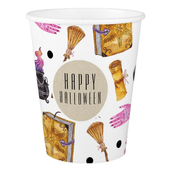 Magical Halloween Watercolor Whimsical Kraft Party Paper Cup #halloween #holiday #drinkware #party #cups