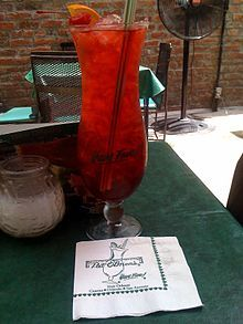"Pat O'Brien's Bar, one of the most famous bars on Bourbon Street, best known for its signature ""Hurricane""."