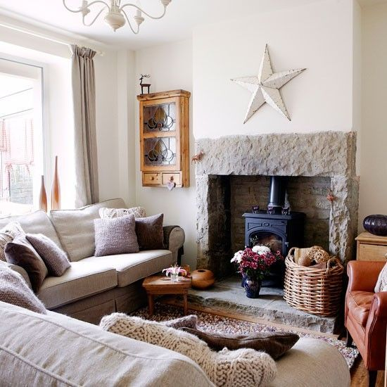 Stunning log burner, with soft greys and neutrals