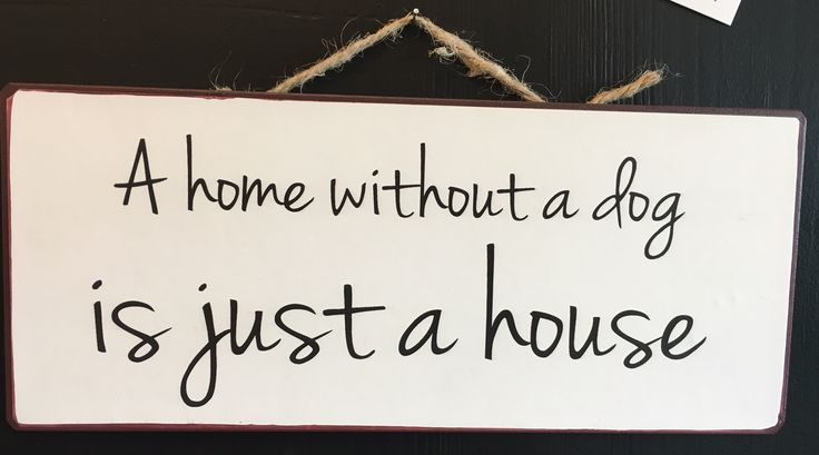 """Skilt med teksten: """"A home without a dog is just a house""""."""