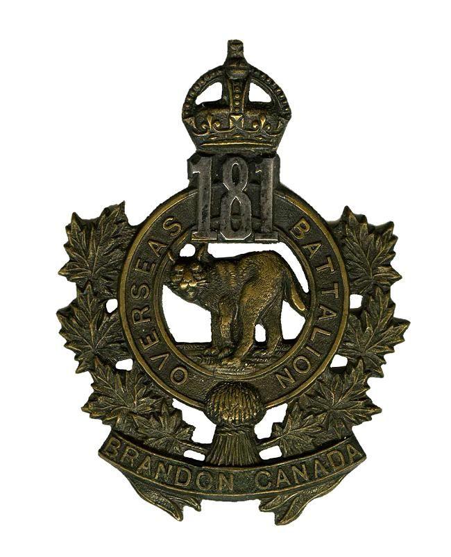 "CEF - Cap Badge - 181st Canadian Infantry Battalion -  ""Officers"" - Brandon, Manitoba. Animal is a Bobcat. WW1."