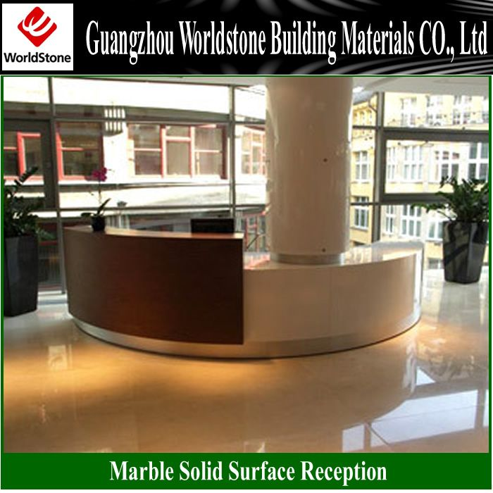 white semi-circular reception counter