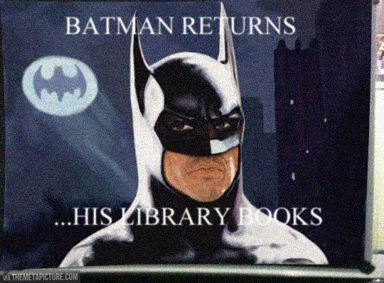 "Batman Returns…. This would be funny with the ""don't judge a book by it's movie"" display"
