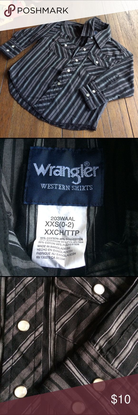 Wrangler Western Shirt Gently used Wrangler Western Snap Front Shirt. Button at collar. Pearlized snaps down front, on snap flap pockets & sleeve cuffs. Black, charcoal and grey stripe pattern. Size XXS (0-2) per tag. When next to 24 month it is same size. Wrangler Shirts & Tops Button Down Shirts