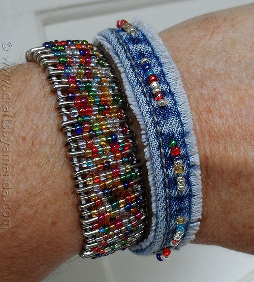Recycled Denim Beaded Bracelet from Crafts by Amanda.   This is a MUST DO!