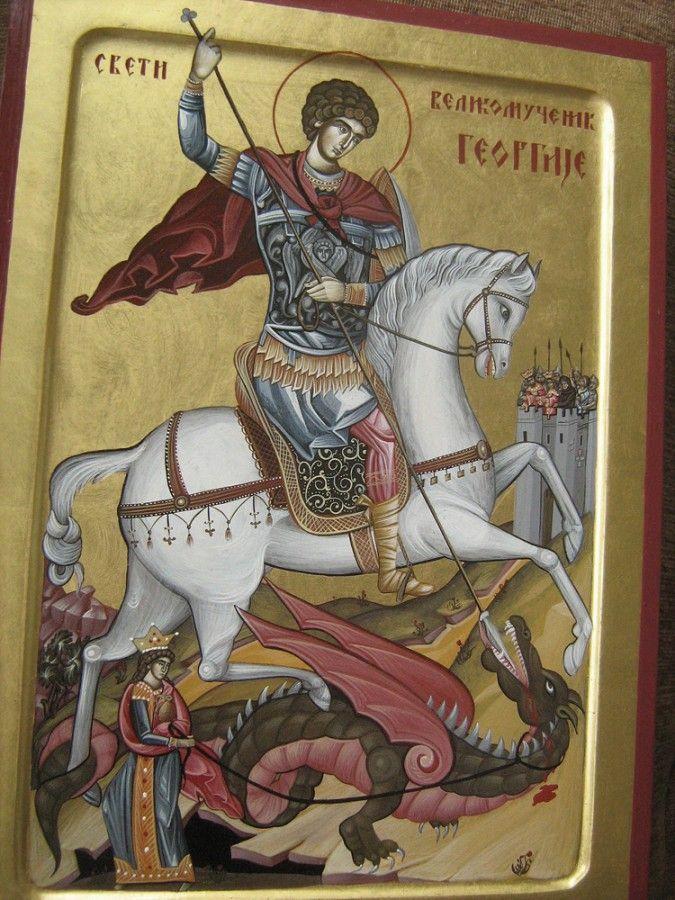 Свети Георгије, јајчана темпера на липовој дасци, дименз.  36x26cm, 22k злато