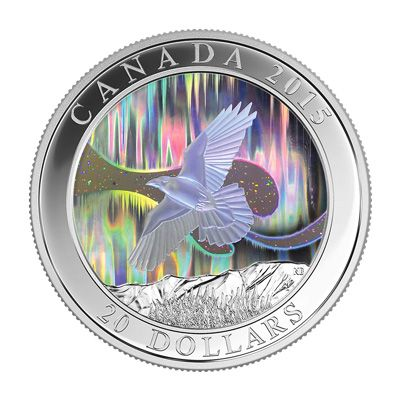 The raven is central to First Nation traditions, and this coin celebrates its role in teaching the story of the northern lights. This coin is the third Royal Canadian Mint offering to feature a hologram, which is microscopically struck into the coin's surface.