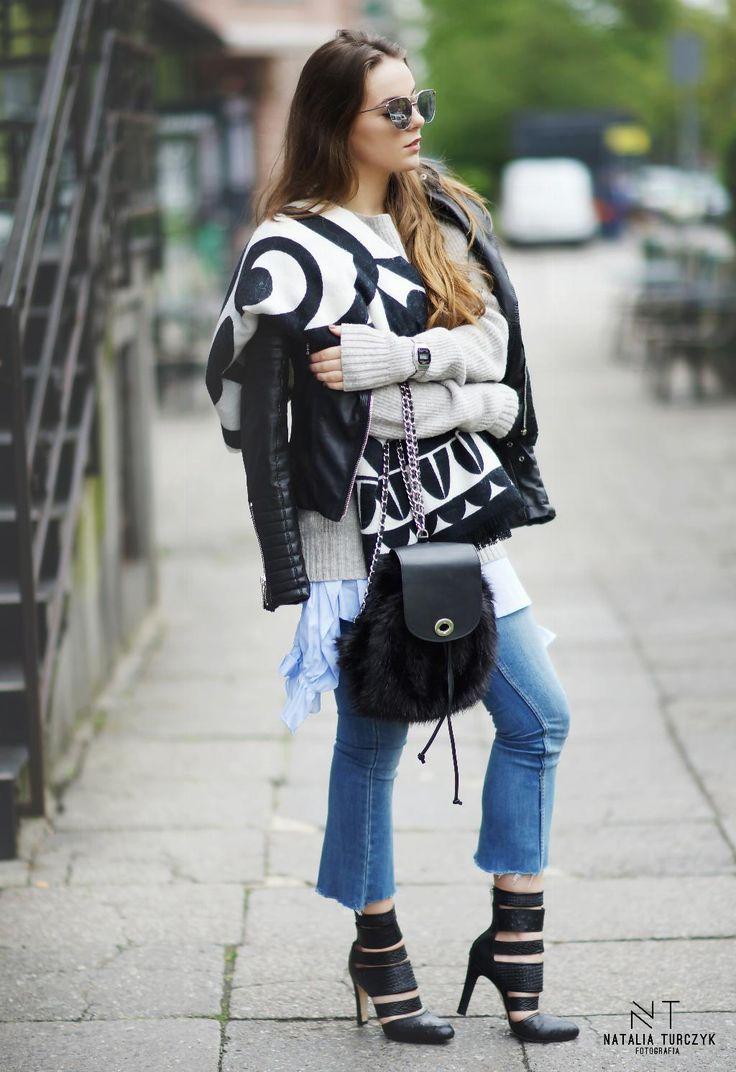 Polska blogerka Joannavi w stylizacji z koszulą z Zary, swetrem z Second Story, Plecakiem Stradivarius, butami Outletmax.pl i okularami paczepacze.pl w obiektywie Natalii Turczyk