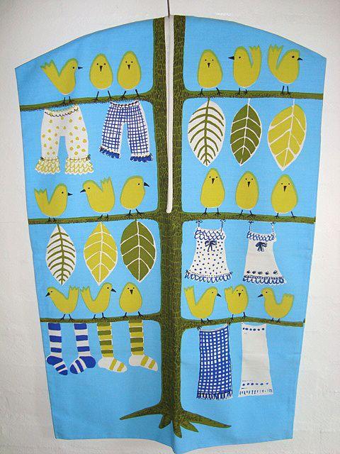 Retro vasketøjspose/laundry bag - 1960-70'erne. #trendyenser #retro #vasketøjspose #textile #tekstil From www.TRENDYenser.com. SOLGT/SOLD