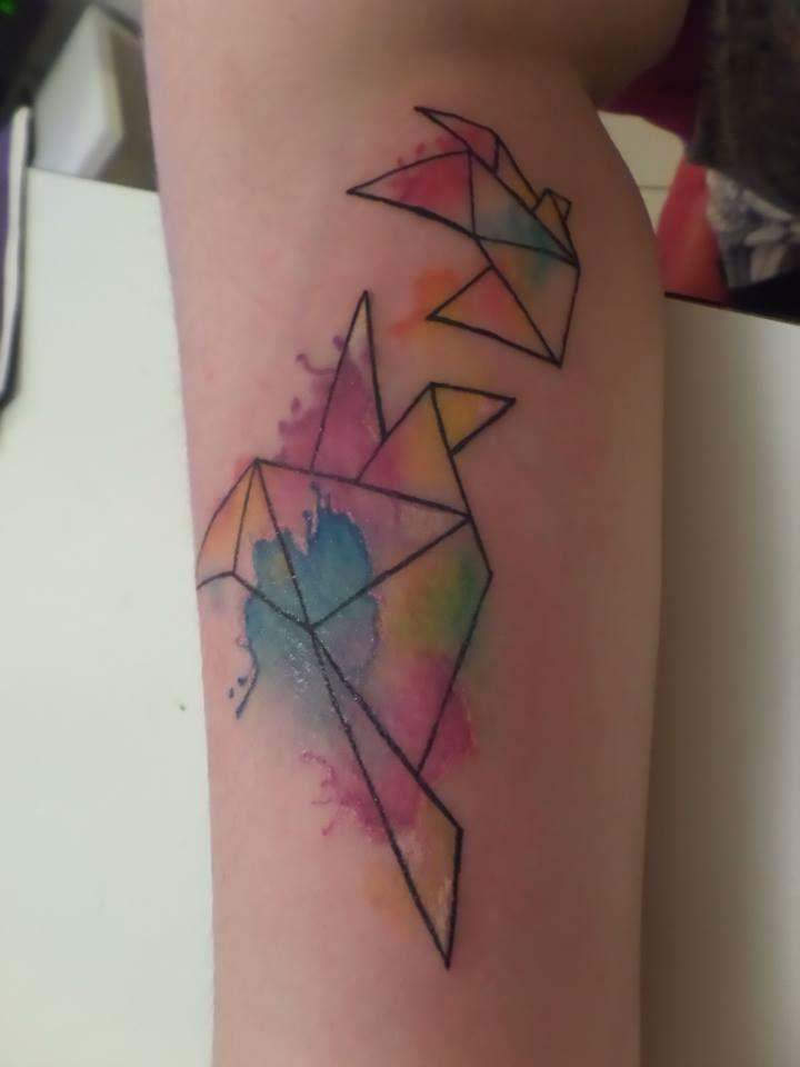 tatuaje de pajaros acuarela, watercolor bird, geometrical tattoo, ink