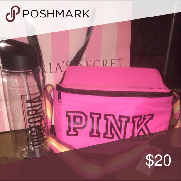 VS Pink cooler and sports bottle VS sports bottle. Never used but no tags. PINK cooler brand new with tags. Perfect for going to the beach or carrying lunch. PINK Victoria's Secret Bags Mini Bags