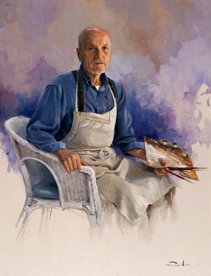 Óleo sobre lienzo. 116×89 cms. Este retrato al óleo de Antonio López fue una obra hecha de pintor a pintor, como se hacía en otros tiempos. Es muy importante la expresión del rostro pero también lo es el colorido del conjunto, que da a la pintura un aire moderno con una factura clásica.