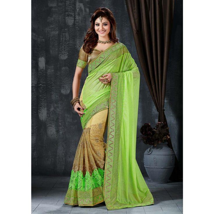 Urvashi Rautela Green Net #Saree With Blouse- $96.96